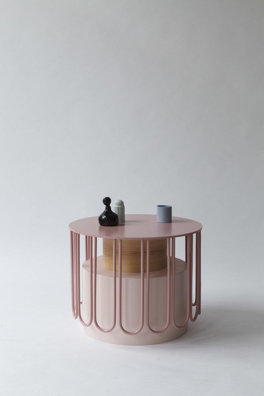 SIDE TABLE TUTU SMALL,  WOOD, ALUMINIUM, GLASS, PVC, LACQUERED MDF  52 x 52 x 40cm