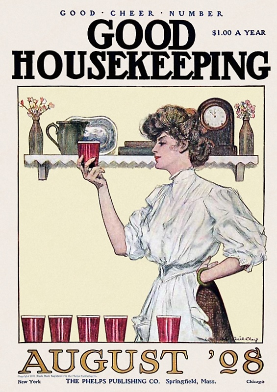 The cover of the August 1908 Good Housekeeping Magazine.