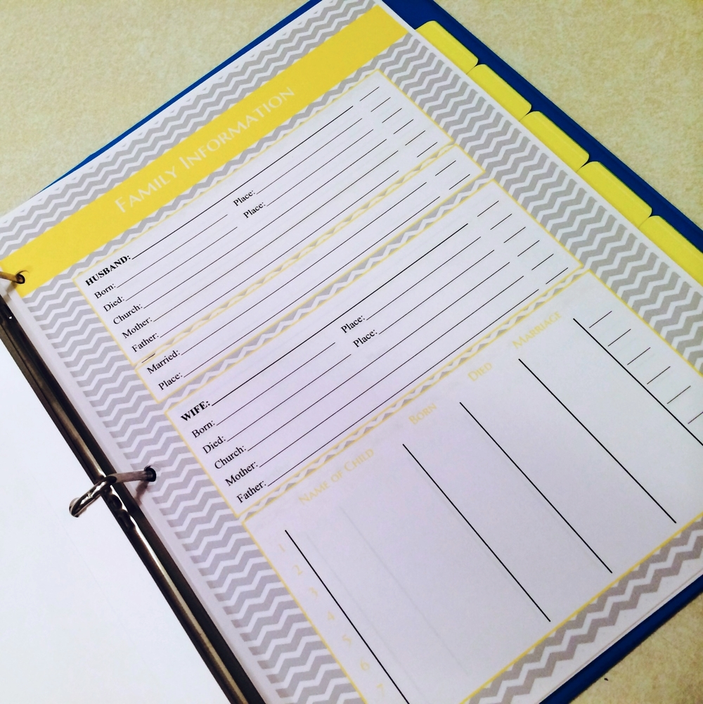 Genealogy Pack Color-Coded to Work With Filing Pack
