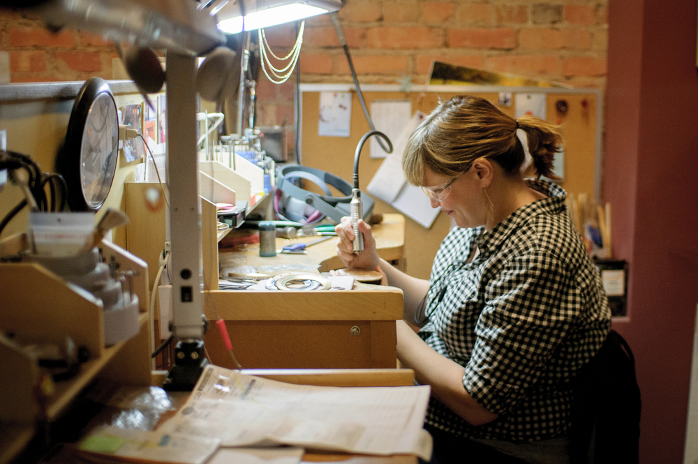 Amy Kennedy is the jeweller who will do the final assembly, and also carved and cast the leaf.