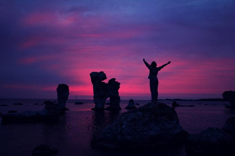 hands up sunset