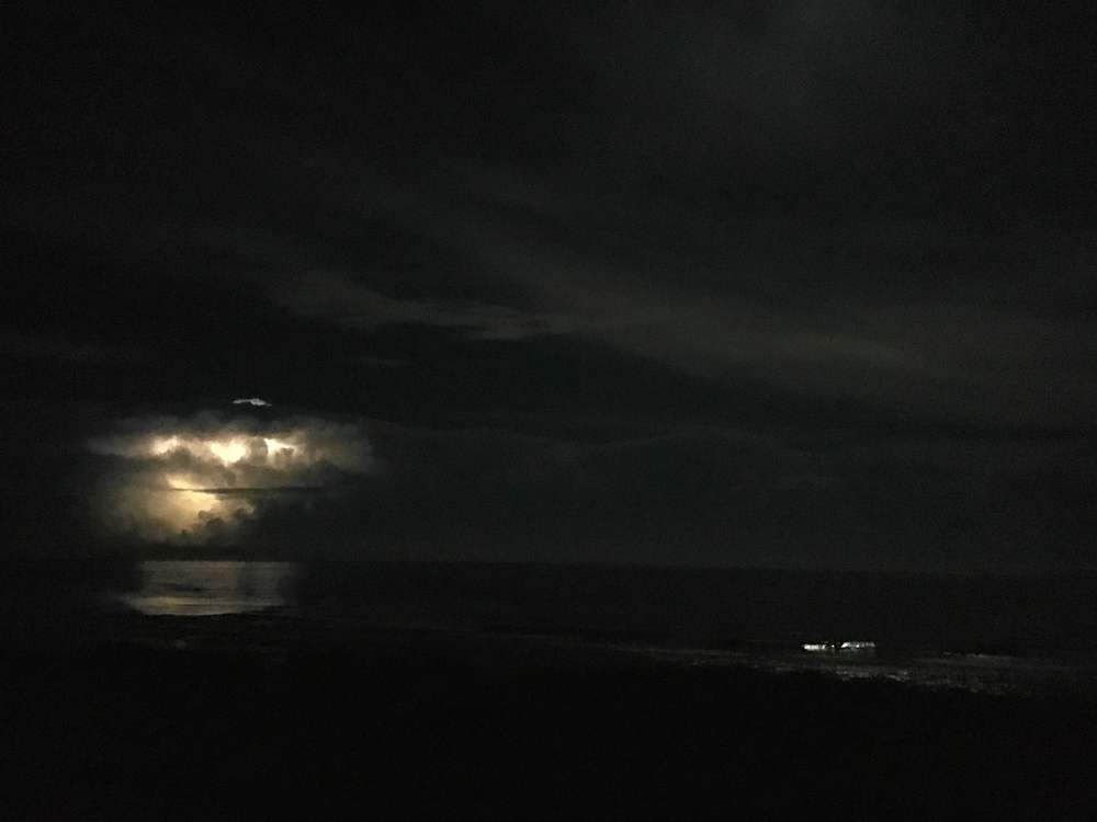 Heat lightning on the Outer Banks!  During the full moon, no less!