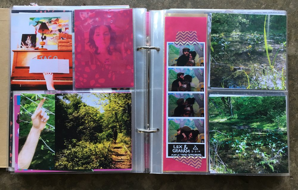 Just photos on these pages.  Some pink translucent paper over that photo of me.  I like to use washi tape to tape photos onto the correct sized paper sometimes.