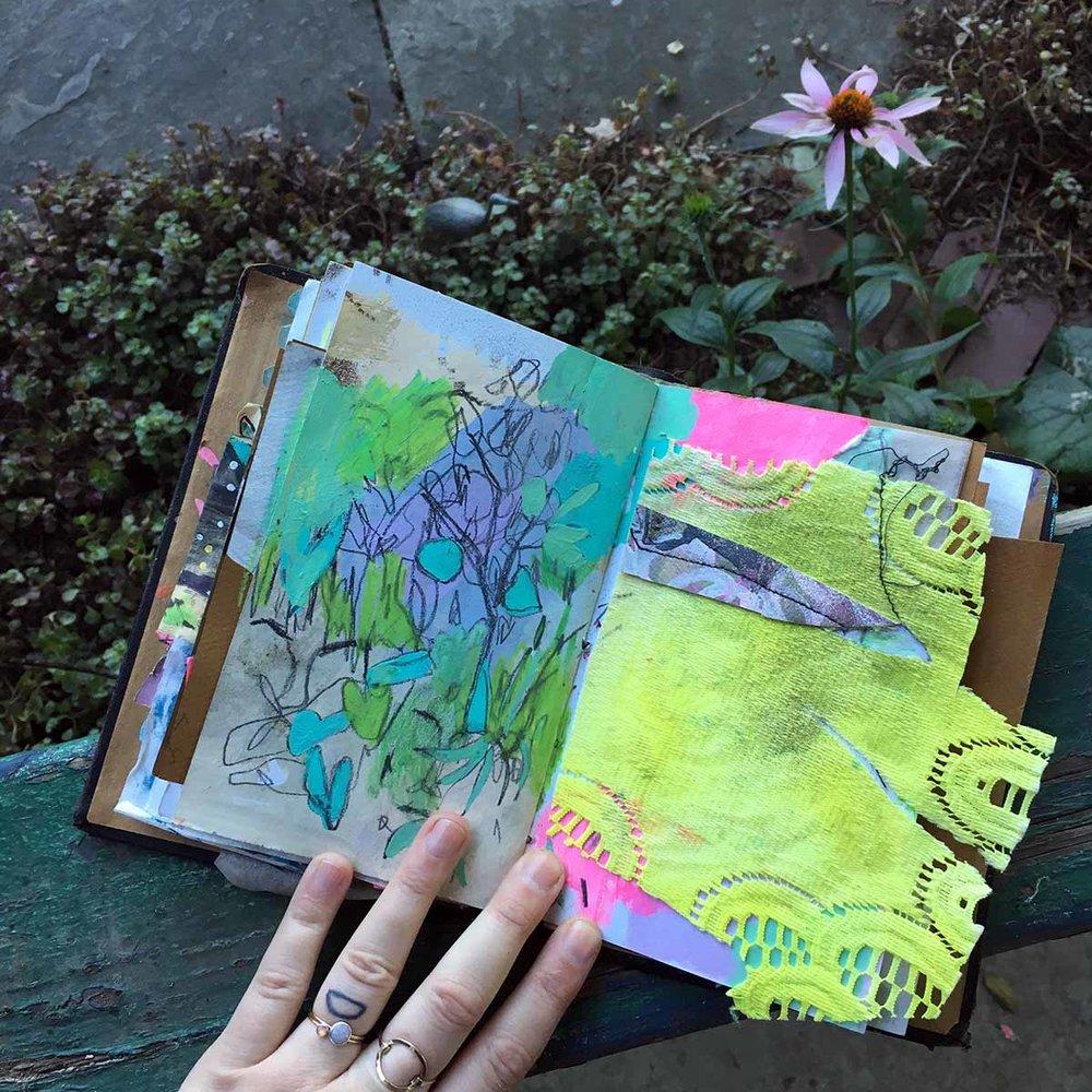 Adding green gouache and watercolor crayon.