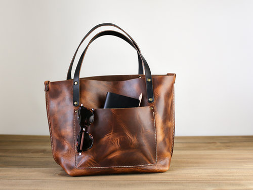 Choice Cuts Industries -Large Leather Tote Bag in English Tan b811e31f866c3