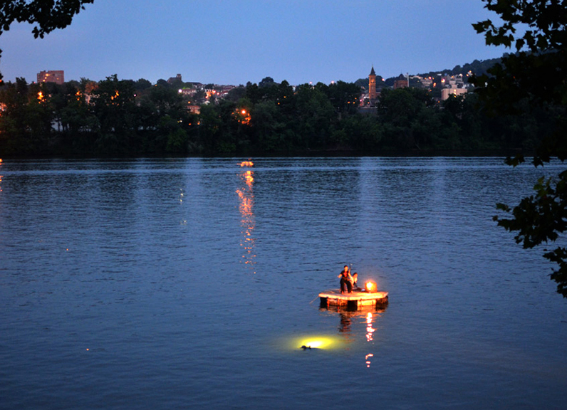 01. The Baiji's Last Swim June 19, 2013 at Dusk on the Allegheny River with Mimi Jong, Stacey Kranick and The Drift From Pittsburgh Performance Actions Series 2013 - 2014 The last swim of the last Chinese river dolphin before going extinct, with an improvised live requiem on the erhu and a dolphin of pure light.