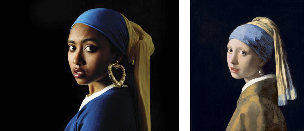 Girl With a Bamboo Earring    by Awol Erizku (left) based on   Johannes Vermeer's   Girl With a Pearl Earring  (right)