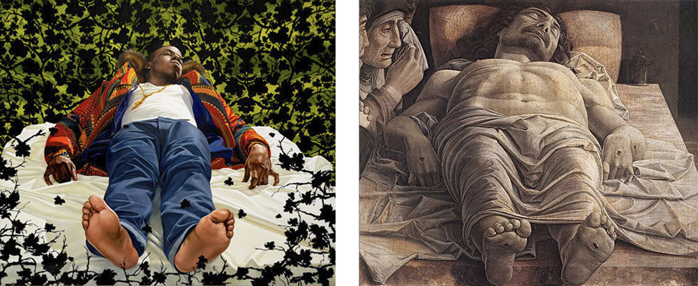 The Lamentation Over the Dead Christ   by Kehinde Wiley (left) based on   Lamentation of Christ   by Andrea Mantegna (right)