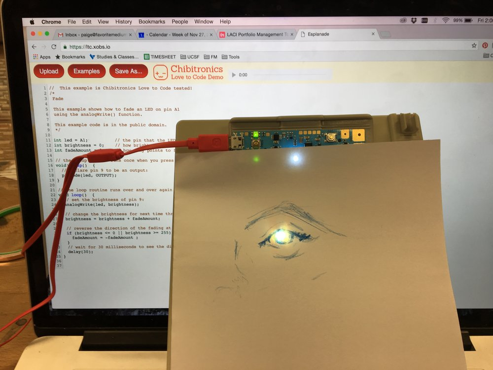 Participated in a workshop that Bunny from Chibi electronics hosted. Used their product to create my own circutboard and turn on a light.