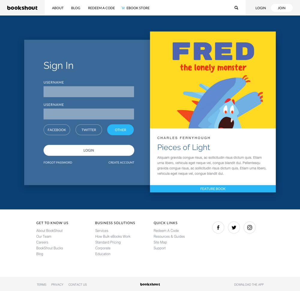 Final design for BookShout log in