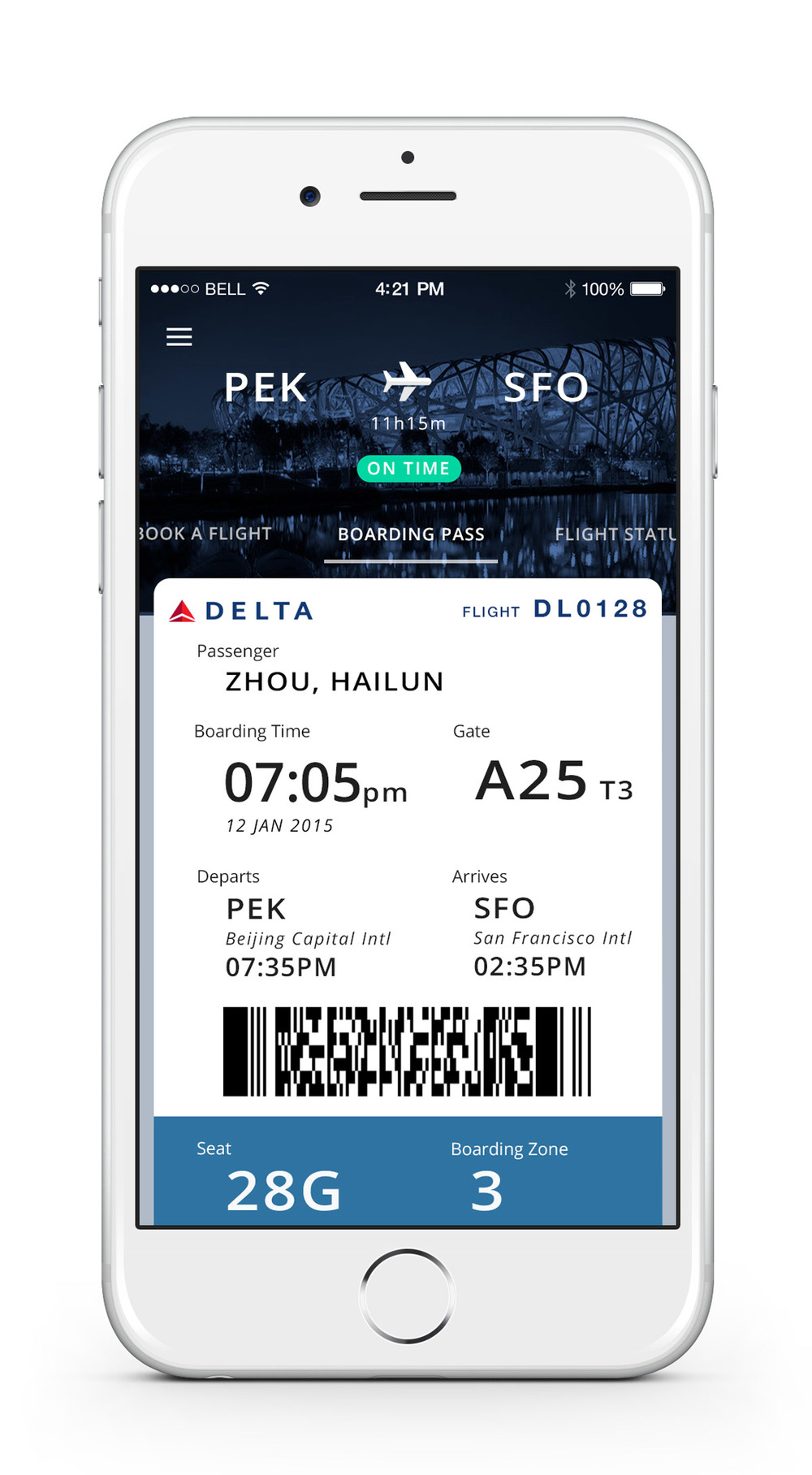 The design gives a naturally transfer from paper to mobile boarding pass. Header indicates the flight status.