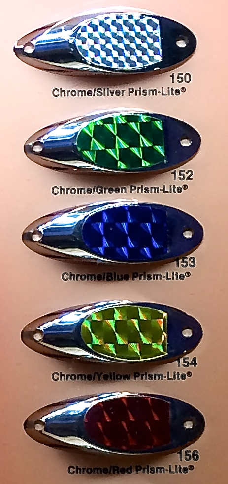 Ruled diffraction patterns on Luhr-Jensen lures.