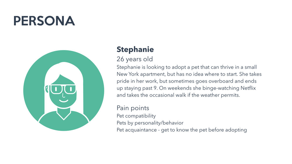 With the data collected from the survey and one user interview, I created a persona I felt captures an archetype of a general pet adopter.