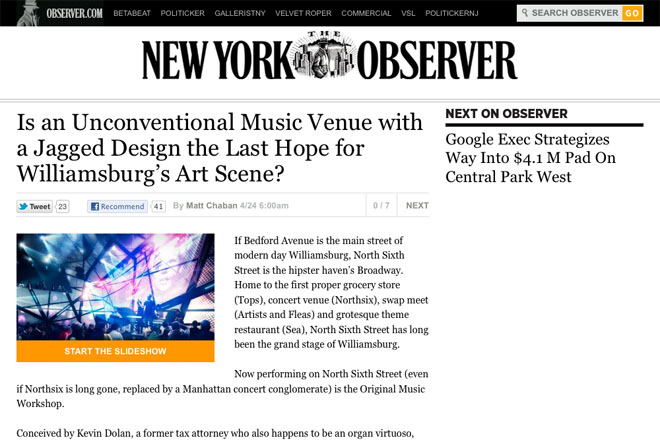 Original Music Workshop featured in the New York Observer