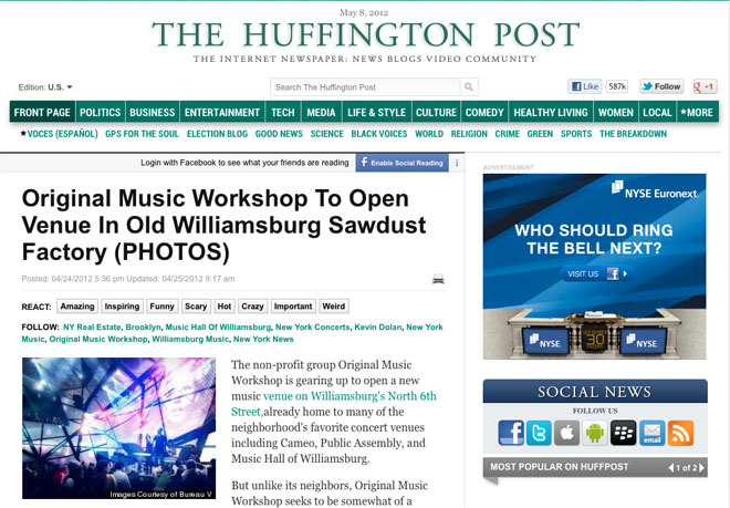 The Huffington Post features Original Music Workshop