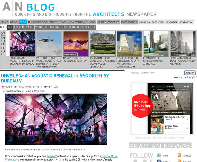 Original Music Workshop featured in Architects Newspaper