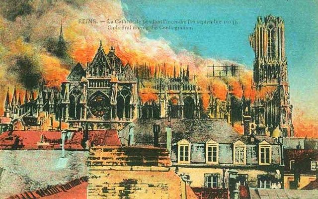 """#1914 #notredamedereims #unfortunateprecedents #postcardsofdestruction """"Scaffolding around the north tower caught fire, spreading the blaze to all parts of the timber frame superstructure. The lead in the roofing melted and poured through the stone gargoyles, destroying in turn the bishop's palace. Images of the cathedral in ruins were shown during the war by the indignant French, accusing the Germans of the deliberate destruction of buildings rich in national and cultural heritage."""" (quotation from Wikipedia) The cathedral's restoration is still ongoing."""