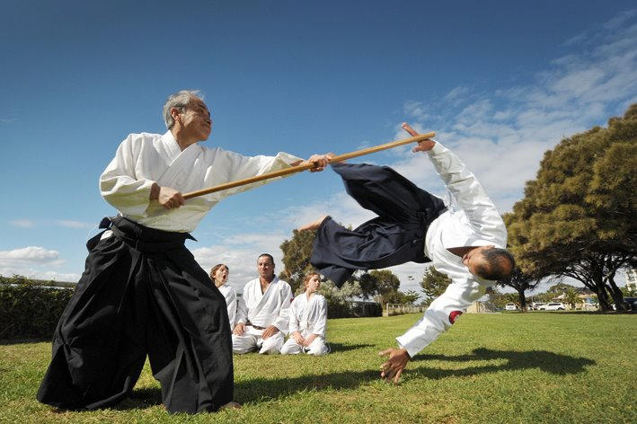 Ozeki Sensei demonstrating Jo (staff) technique