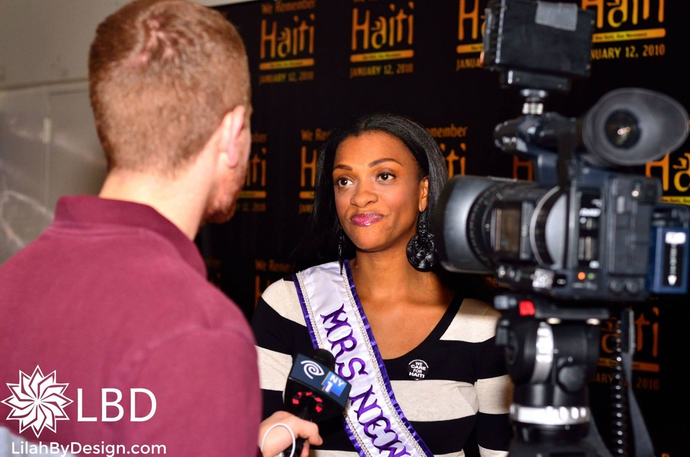 Being Interviewed by NY1.  I look like Michelle Obama here LOL!