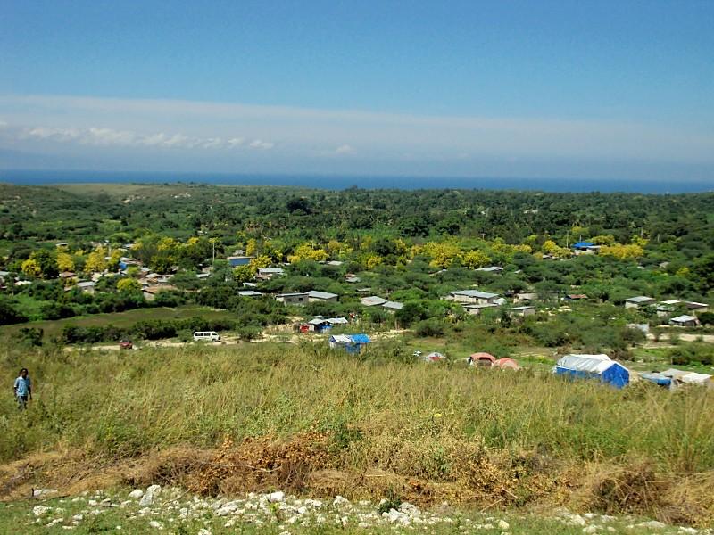 Soucematela, Haiti. Look at the beautiful ocean beyond the land.