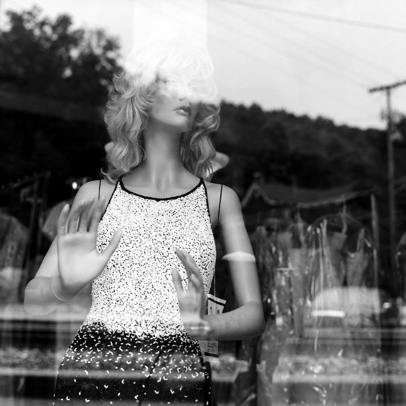 Mannequin in a store window. Shot on black & white film. I think the contrast and reflections here lend themselves nicely to monochrome treatment.