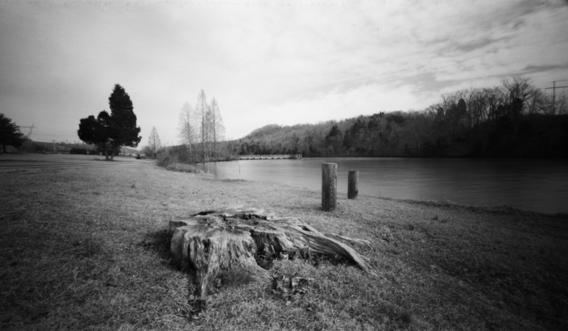 Pinhole photo I shot at a nearby lake. While the examples in this blog post are all black & white, you can just as easily use color film in a pinhole camera.