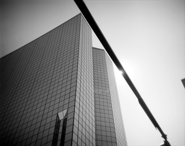 "Downtown Knoxville. I shot this on a  plastic toy ""Debonair"" camera  while on a self-directed assignment. My theme? ""Up"" - basically pointing the camera at anything above me."