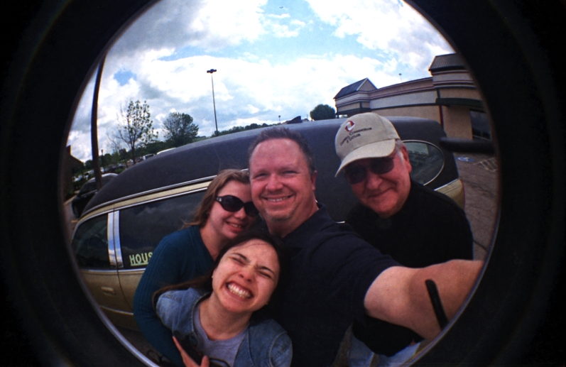 With friends on the road to the  Film Photography Project  meetup in Ohio last May. Shot at arm's length on the Fisheye 2 toy film camera. Plenty of room for more people in this circle!