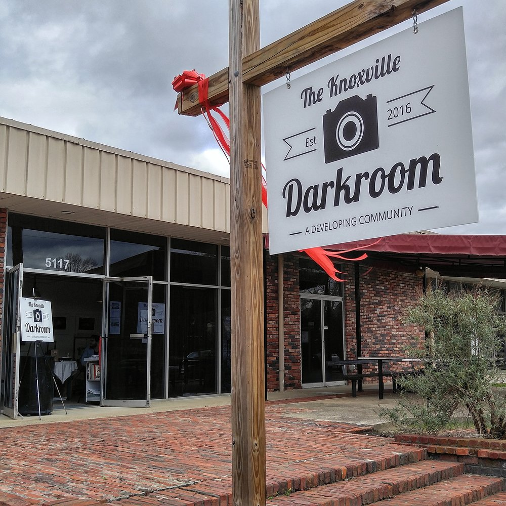 View from outside the Knoxville Community Darkroom during their open house.