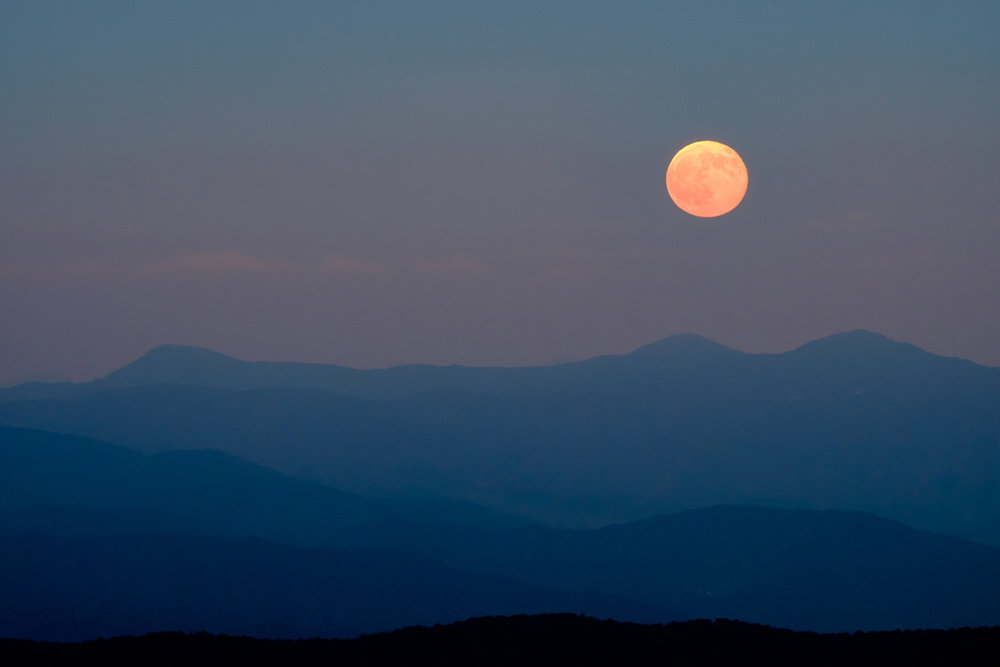Moonrise from Clingman's Dome. The old Konica telephoto I used for this photo was (and still is) filled with a ridiculous amount of dust. Fortunately, the dust had little impact on the final image quality.