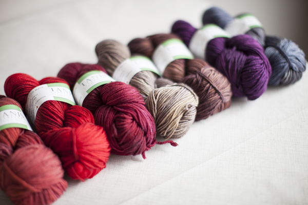 Colors (from left to right): Sunset, Poppy, Garnet, Stone, Chestnut, Plum, Dove