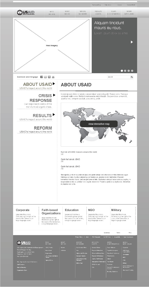 Wireframe for main page of USAID.GOV