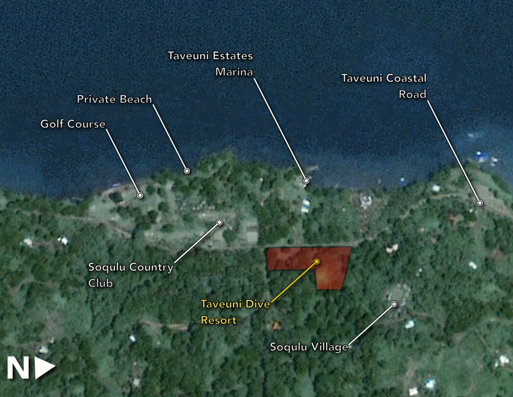Figure 1.  Here is the location of the Taveuni Dive Resort and the surrounding amenities.