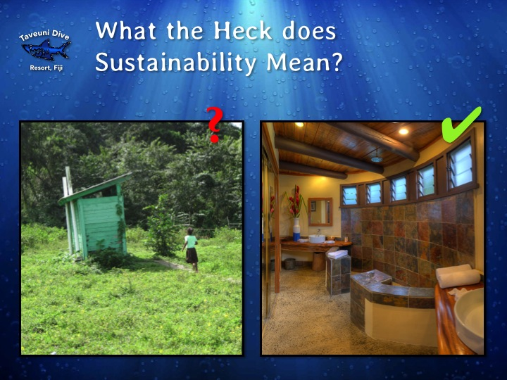 My favorite slide from the upcoming presentation.  For the record, the bathrooms in the bures will look like the picture on the right, not the left!