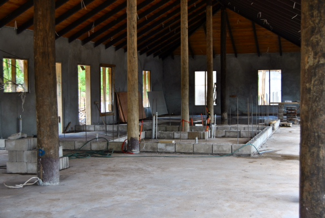Floors have been poured inside the Salty Fox, and the concrete block is being set for the bar and interior walls.