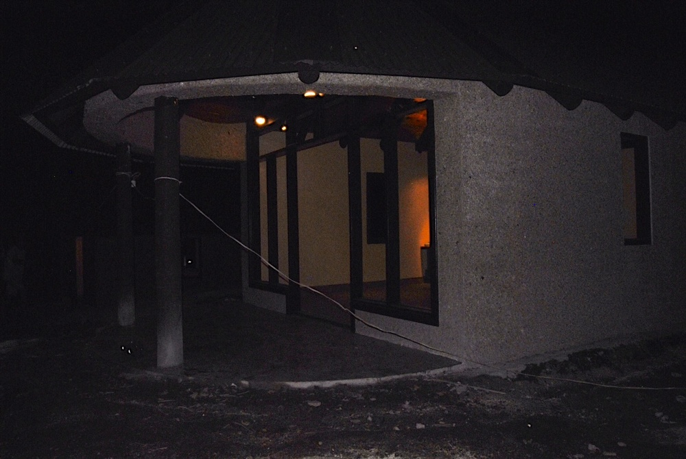 This is the exterior of Bure #1 at night.  This was a test so we could test the impact of the lighting.