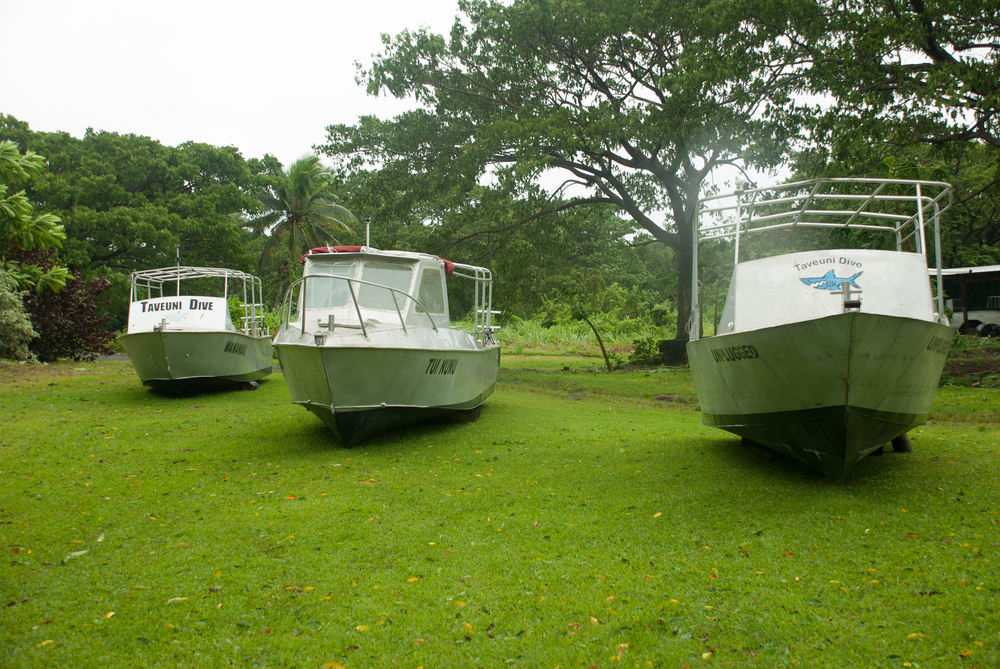 The dive boats all tucked in for a Tropical Cyclone.