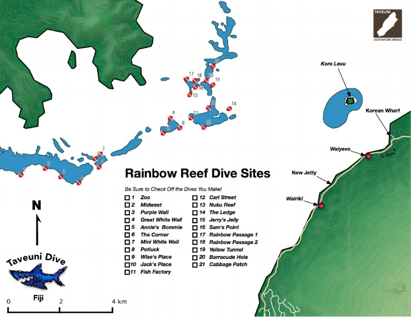 A map of popular dive sites in the Somosomo Strait.