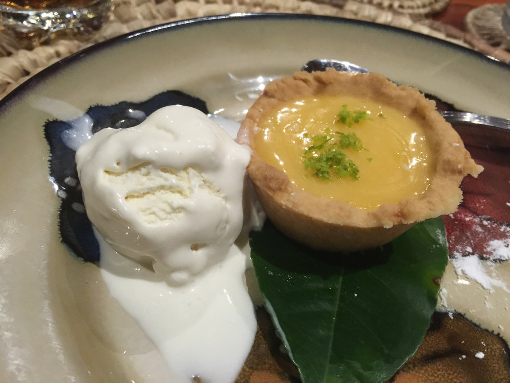 Ice cream and lemon tart