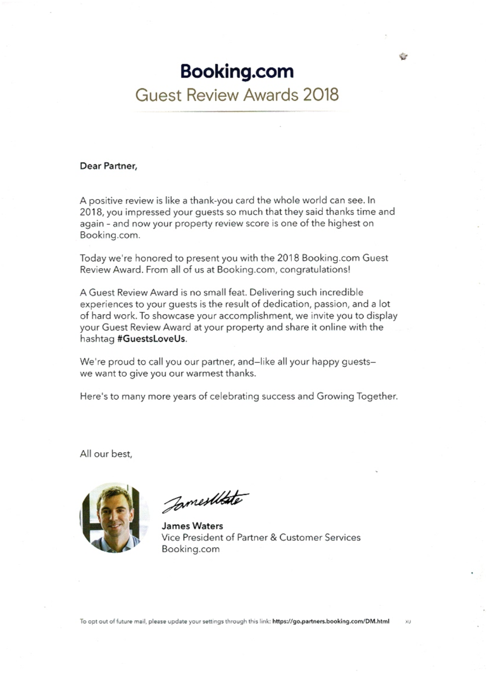 A copy of the award letter from Booking.com
