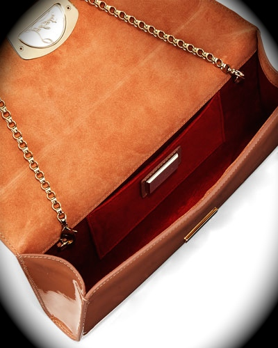 666e19b9f85a CHRISTIAN LOUBOUTIN VERO DODAT PANTENT LEATHER CLUTCH BAG NUDE ...