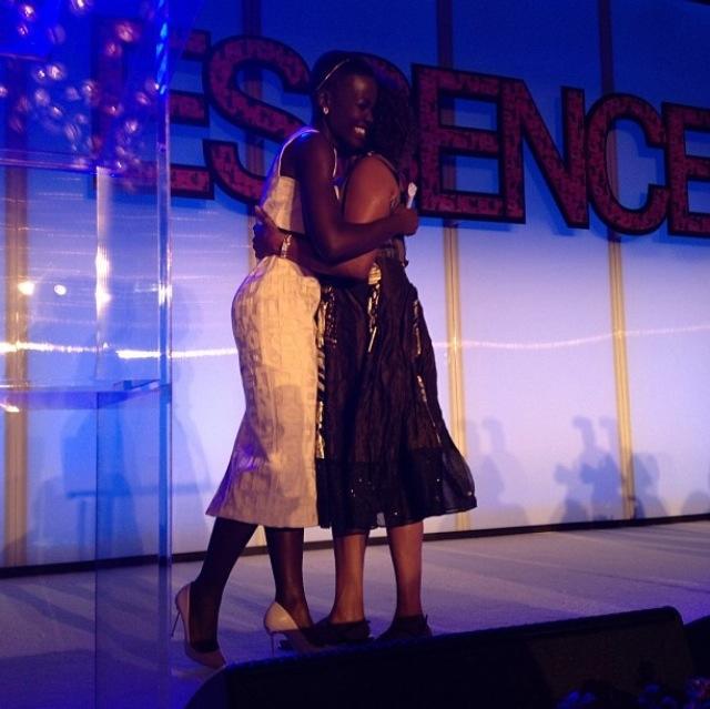 Lupita Nyong'o hugs 12 Years a Slave Co-Star Alfre Woodard!