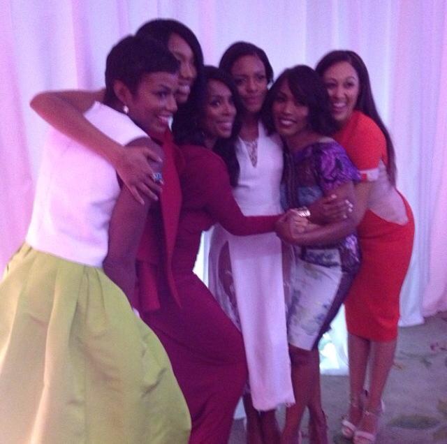 Sisters united! Tai Beauchamp, Brandy, Tasha Smith, Naomie Harris, Angela Bassett, and Tamera Mowry-Housley!