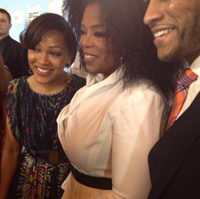 Oprah with Meagan Good and Devon Franklin!
