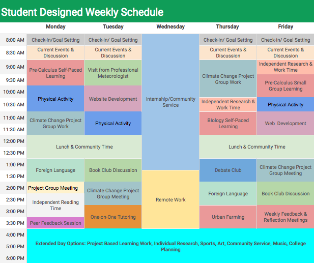 24/7 Learning Academy Weekly Schedule