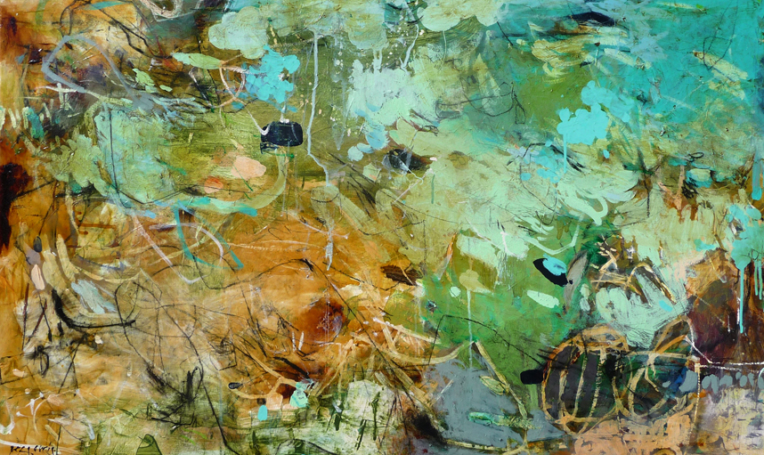 Krista Harris While we Wait mixed media on canvas 20 x 40