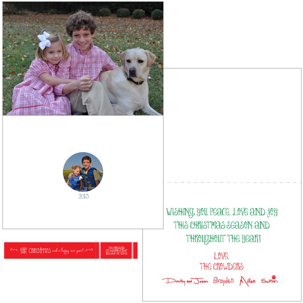 5 x 7 Folded Card with Imported Signatures and Custom Wrap Around Return Address Label