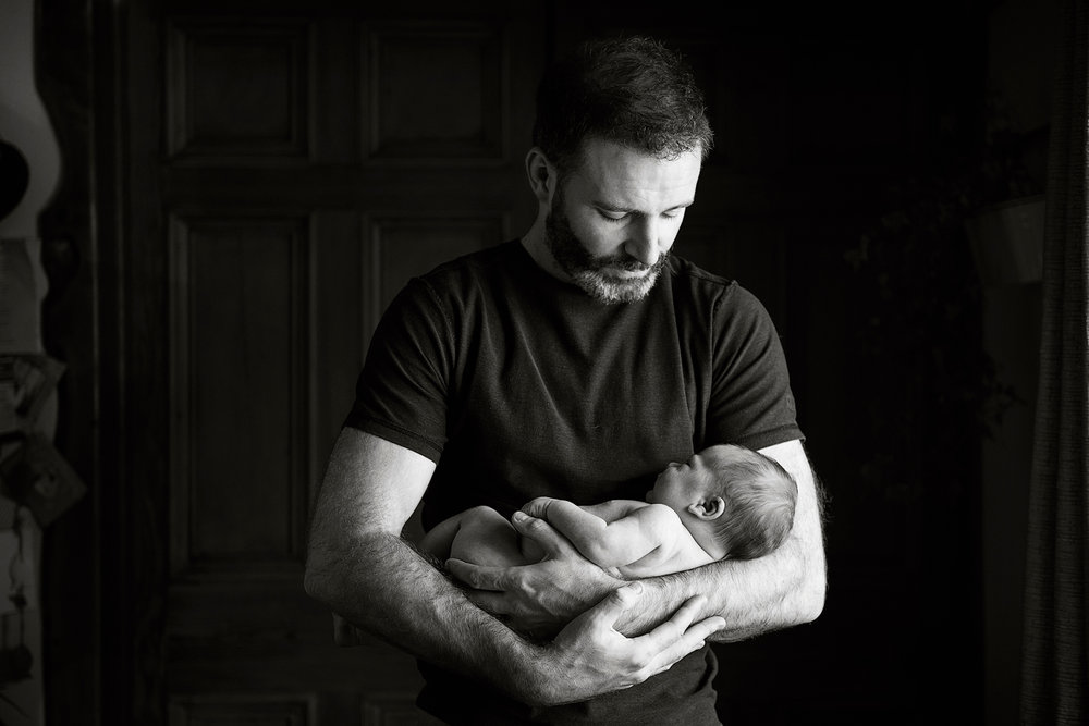 Niall Brownen Photography Father Son Newborn Sleeping Proud