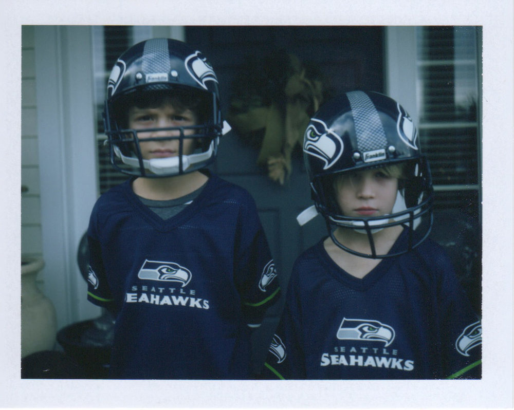 The boys geared up for what would become the saddest Super Bowl ever