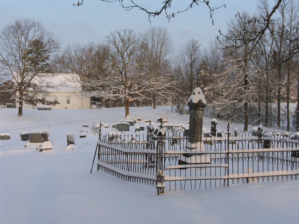 Shown here is the snow of March 8, 2008, approximately 6 inches which is a pretty good snow for this area.  It made for an awesome view of the church and some of the old iron work at the cemetery.